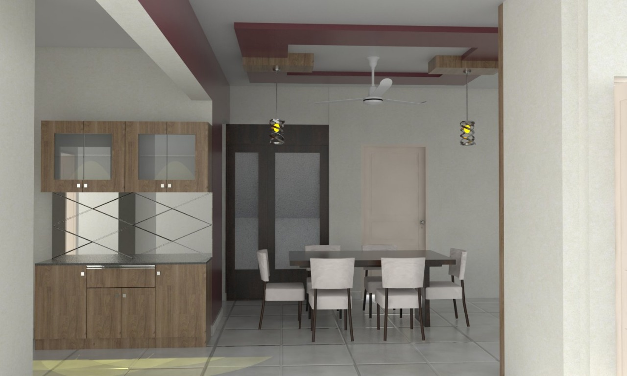 Dining Area Crockery Unit and False Ceiling