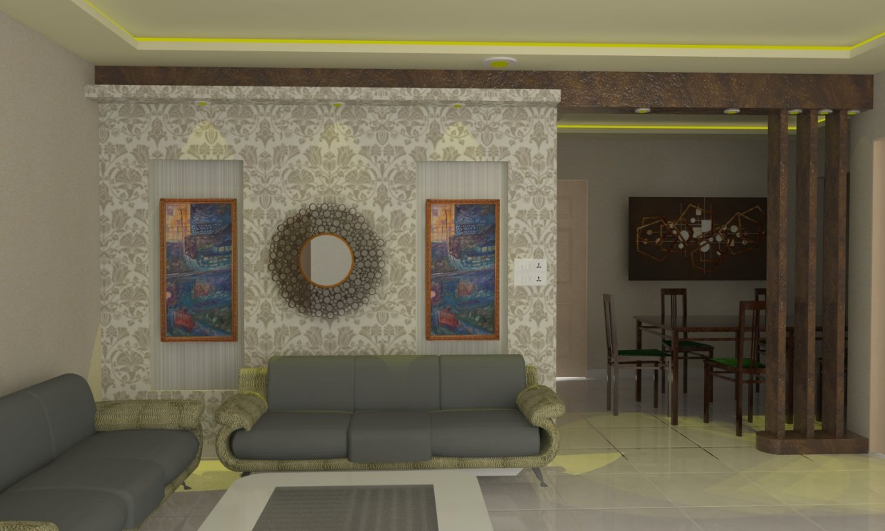 Living Area Feature Wall and False Ceiling