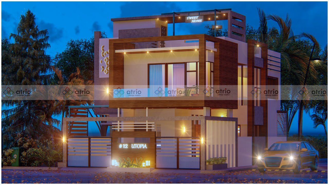 Villa Front Elevation Night View