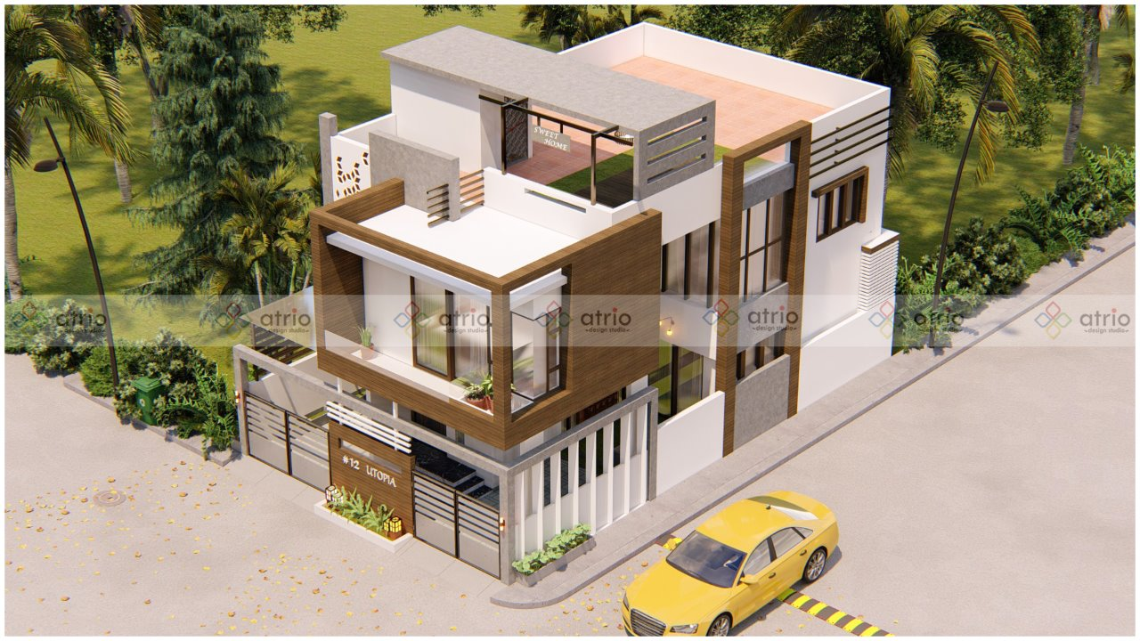 Villa Front Elevation Bird Eye View