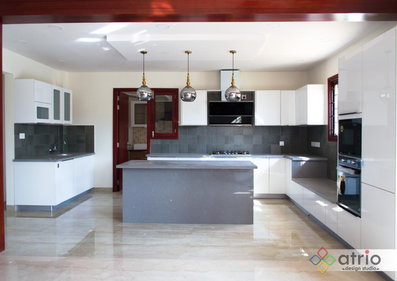Kitchen with False ceiling and Lighting