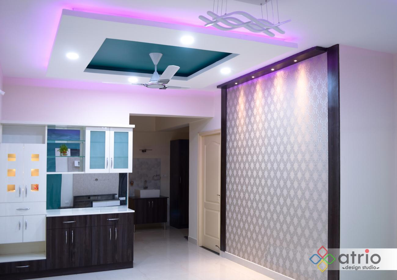 Dining Area Crockery and Pooja Unit with Photo Wall