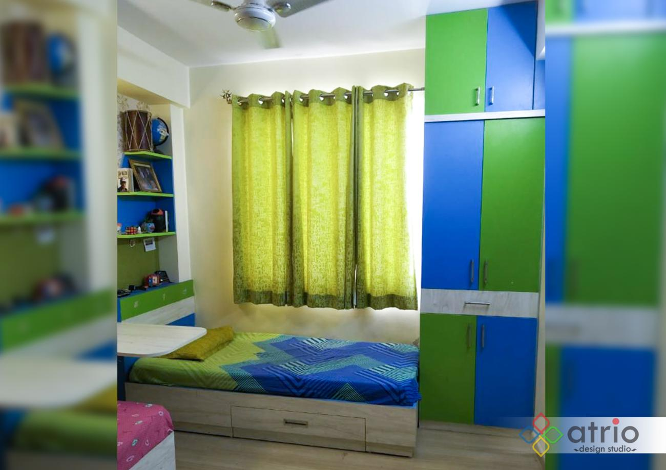 Kids Bedroom Wardrobe, Study Unit and Bed