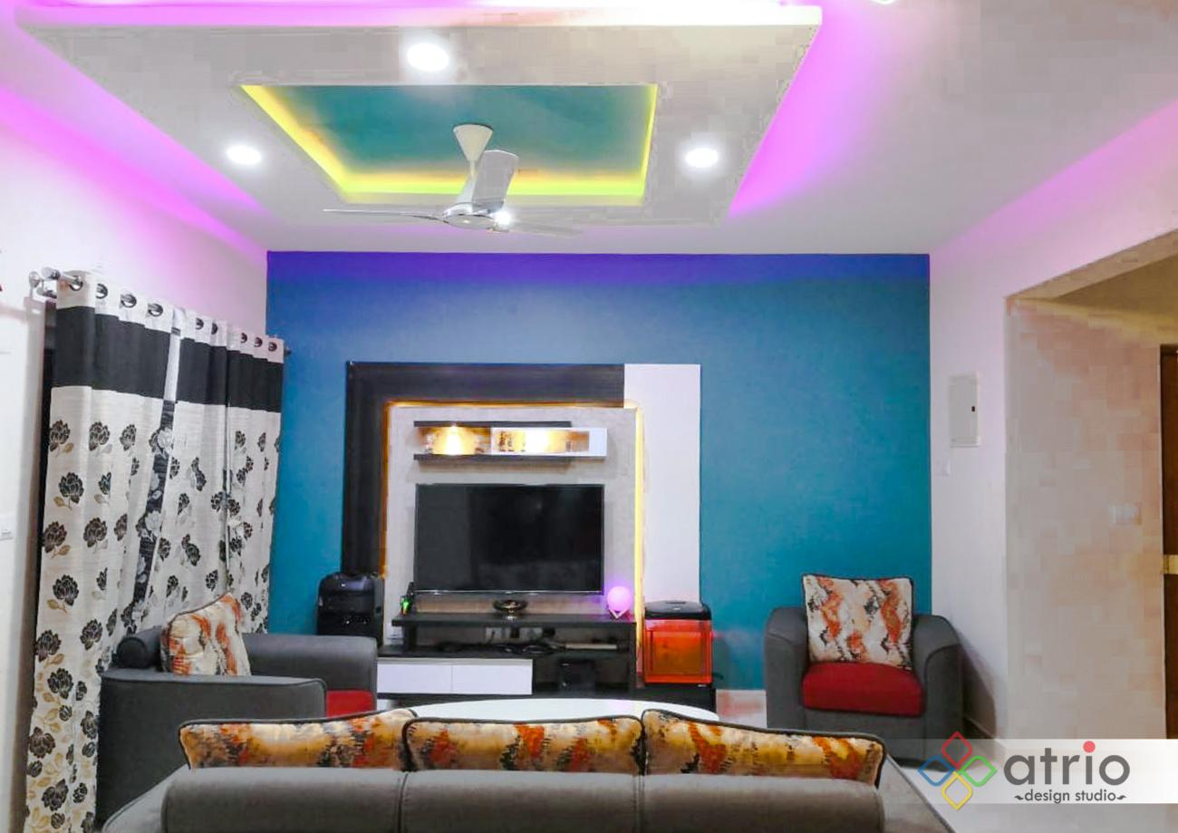 Living Room with False Ceiling Design