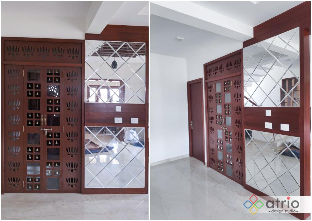 Laser Cut Pooja Doors with Designer Mirror Paneling