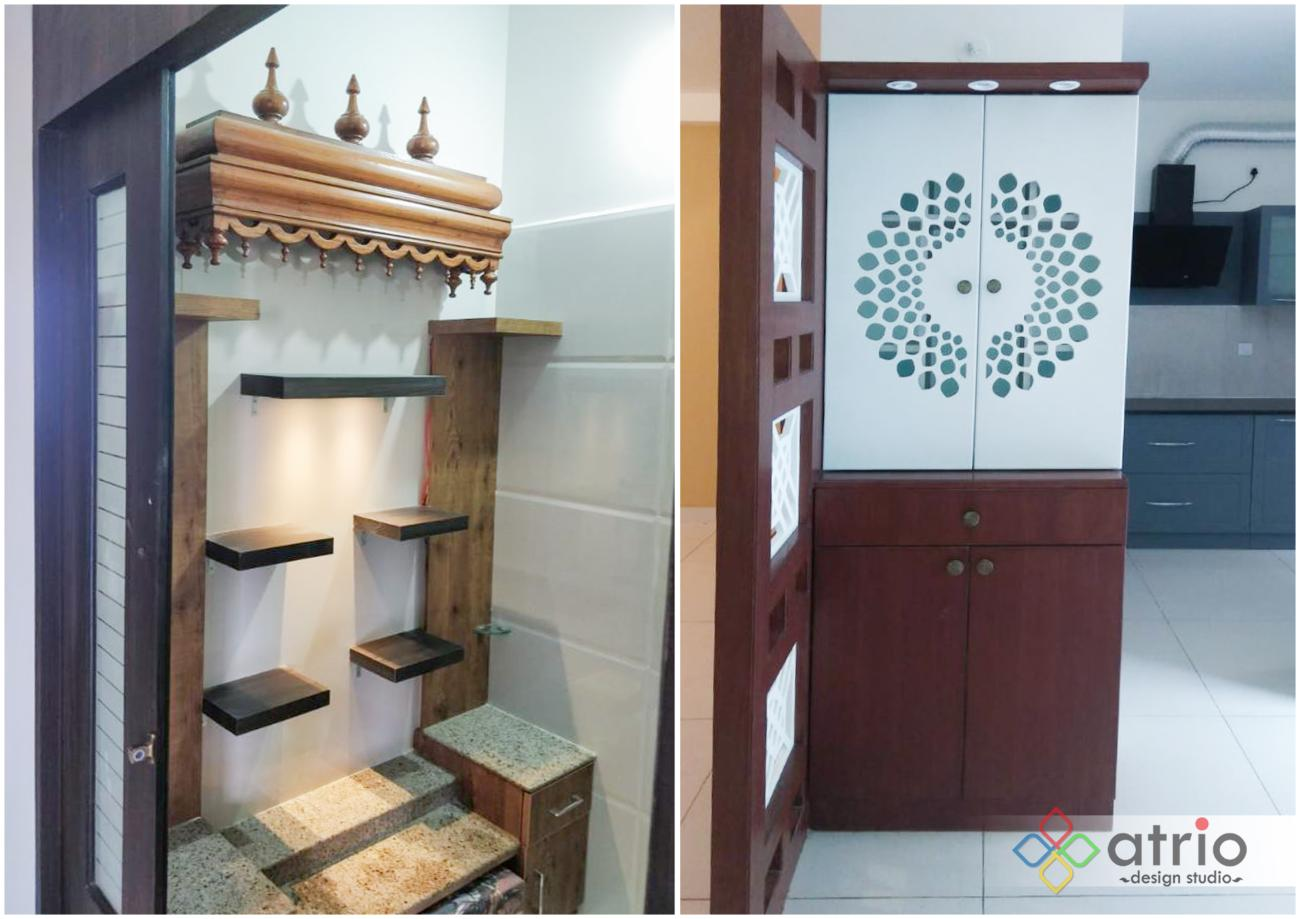 Pooja Unit with Teakwood temple and Laser cut door